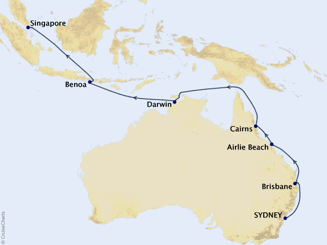 17-night Australia Intensive Voyage Cruise Itinerary Map