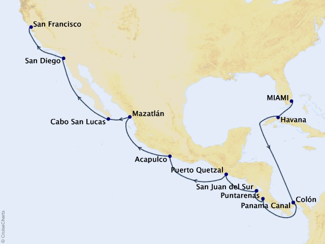 18-night Cultural Crossing Voyage Map