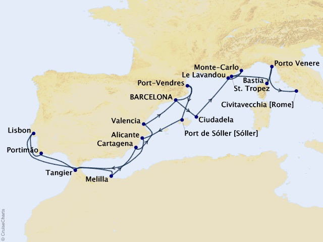 19-night Iberian & Riviera Romance Cruise Map