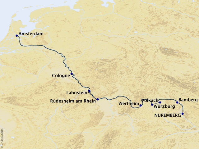 7-night Treasures of the Main & Rhine Cruise Map