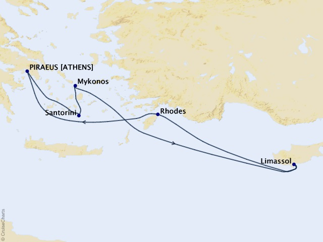 7-night Greek Islands & Cyprus Cruise Itinerary Map