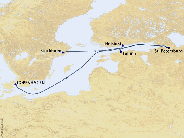 7-night Baltic Cruise Itinerary Map