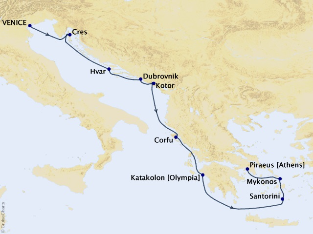 10-night Greece, Montenegro, & Croatia Cruise Map