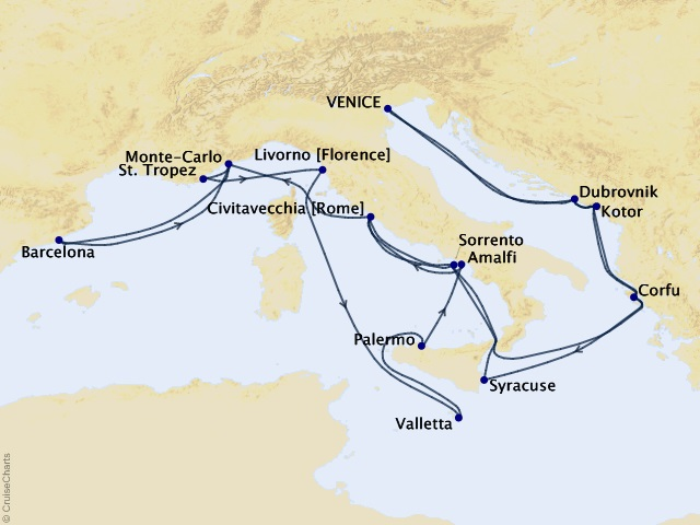28-night Renaissance Reverie Cruise Map