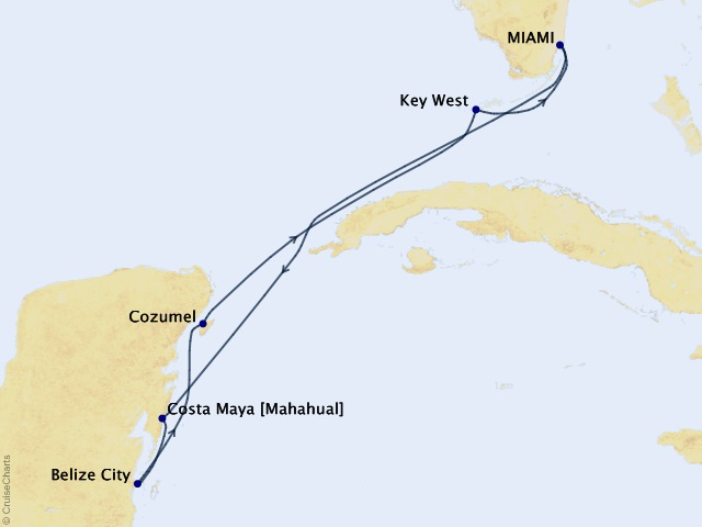 7-night Tropical Escape Cruise Map