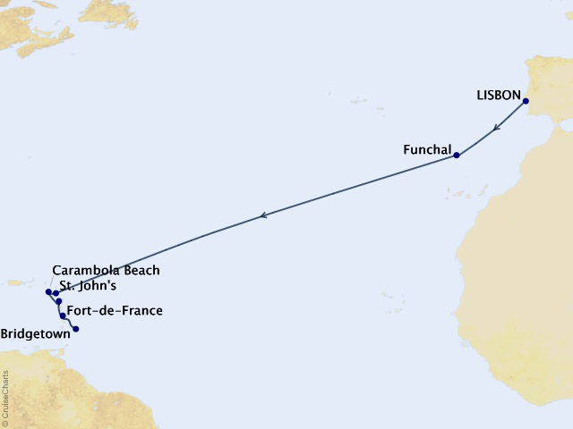 14-night Atlantic Odyssey Cruise Map