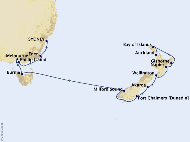 15-night Majesty of Milford Cruise Map