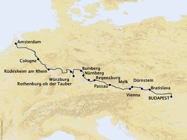 14-night Budapest to Amsterdam by Riverboat – Northbound Cruise Map