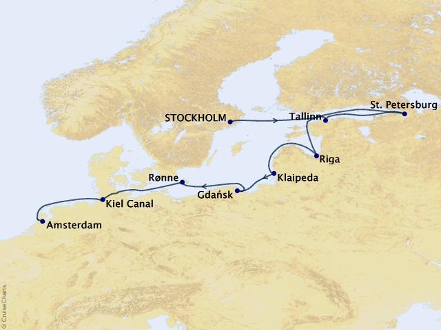 12-night St. Petersburg and Baltic States Voyage Map