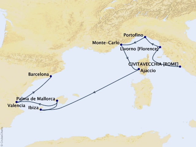 12-night Grand Prix Riviera Gateway Cruise Map
