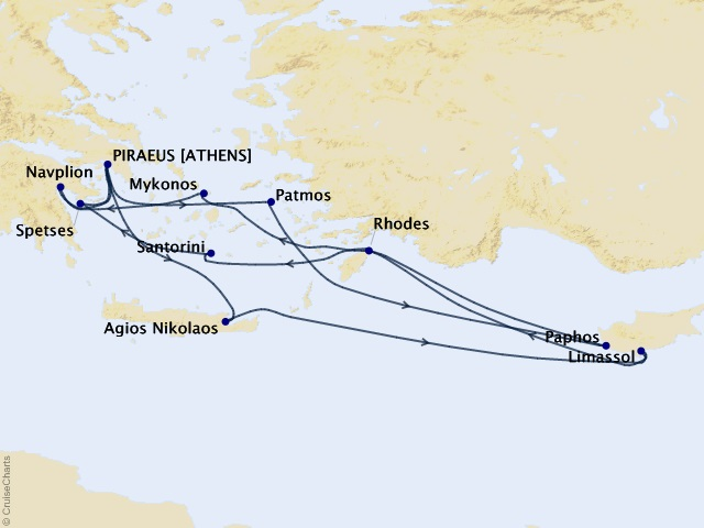 14-night Wonders of the Aegean Cruise Map