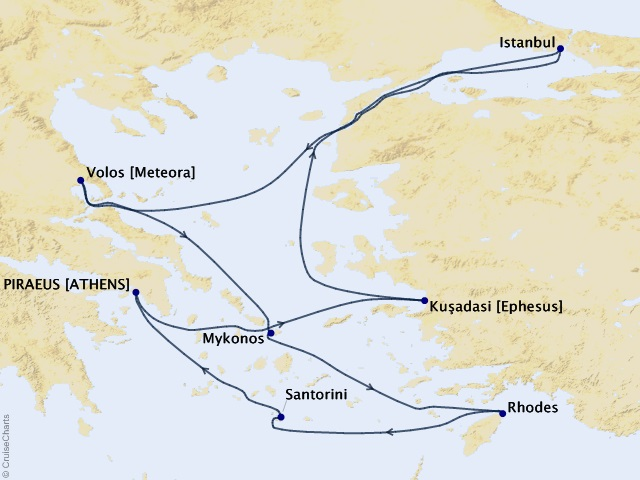 7-night Greek Isles Round-trip Athens – Santorini, Mykonos, and Istanbul Cruise