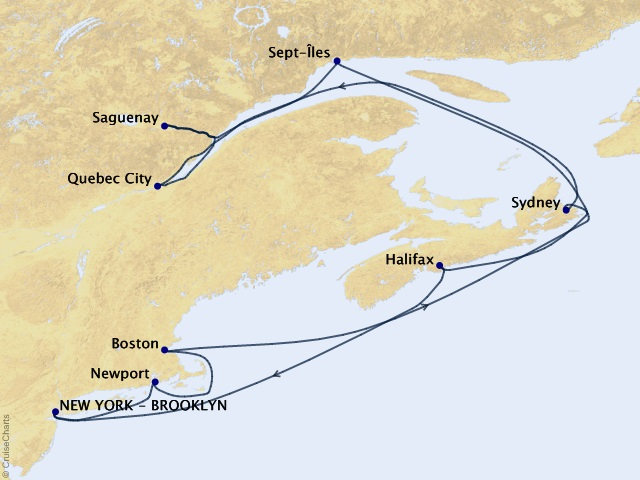 14-night New England & Canada Cruise Map