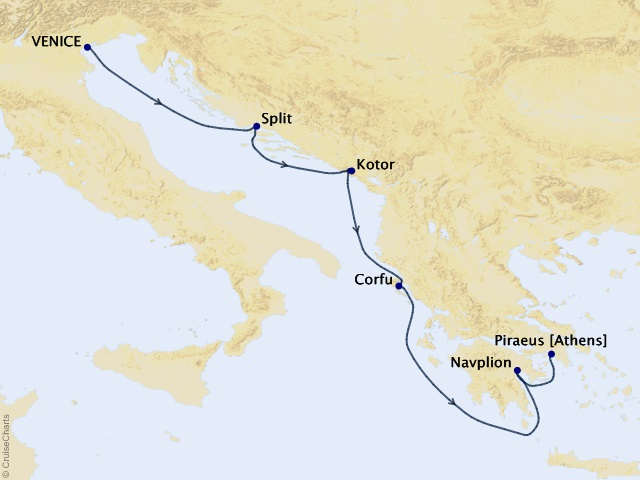 7-night Mediterranean Cruise Map