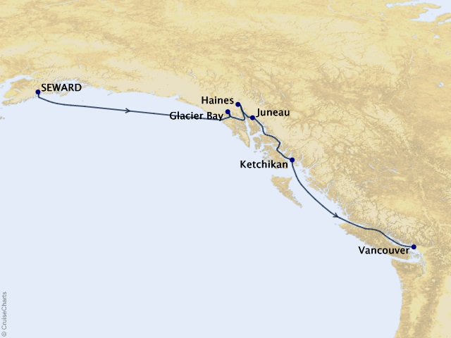 7-night Glacier Discovery Southbound Cruise Itinerary Map