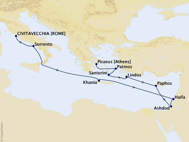 13-night The Holy Land and Greek Isles Cruise Map