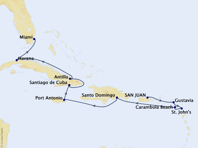 14-night Holiday Cuban & Caribbean Stars Cruise Map