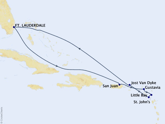 10-night Eastern Caribbean Cruise Map