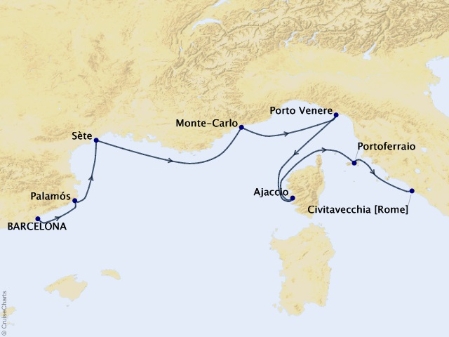 7-night Rivieras and Rome Cruise Map