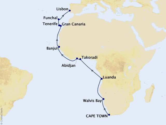 21-night Western Africa Journey Map