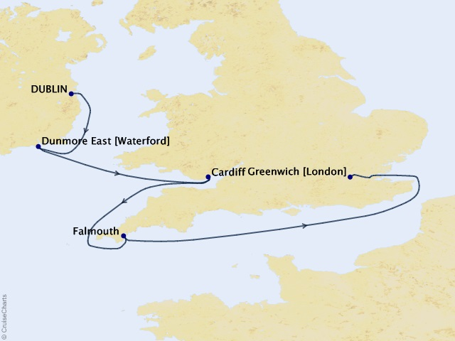 5-nigh British Isles Cruise Map