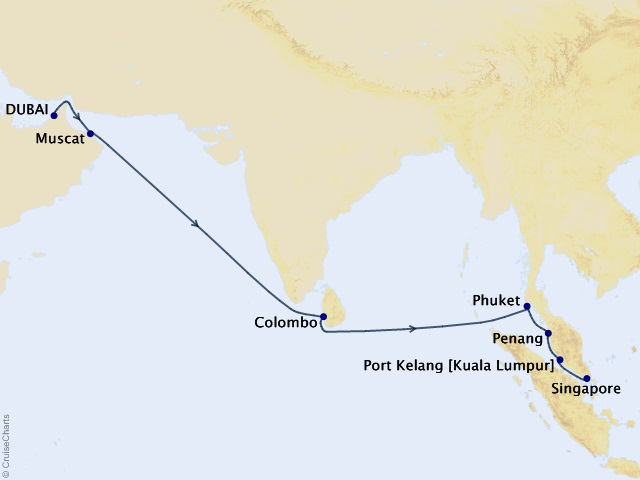 World Segment - Dubai to Singapore Cruise Map