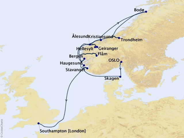12-night Fjords of Norway Voyage Map