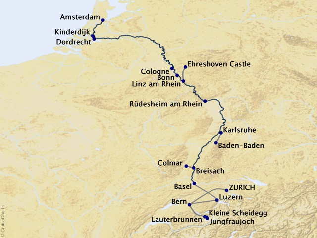 9-night The Rhine, Swiss Alps, and Amsterdam Cruise/Land Package Map