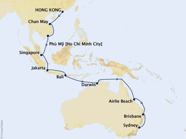 22-night Hong Kong to Sydney Cruise Map