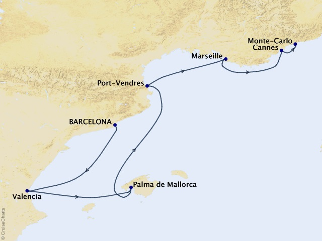 7-night España to the Côte d'Azur Cruise Map