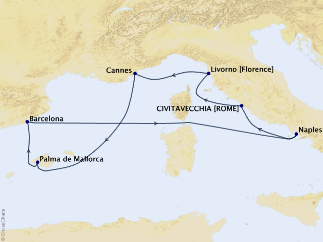 7-night Western Mediterranean from Rome (Civitavecchia) Cruise Itinerary Map