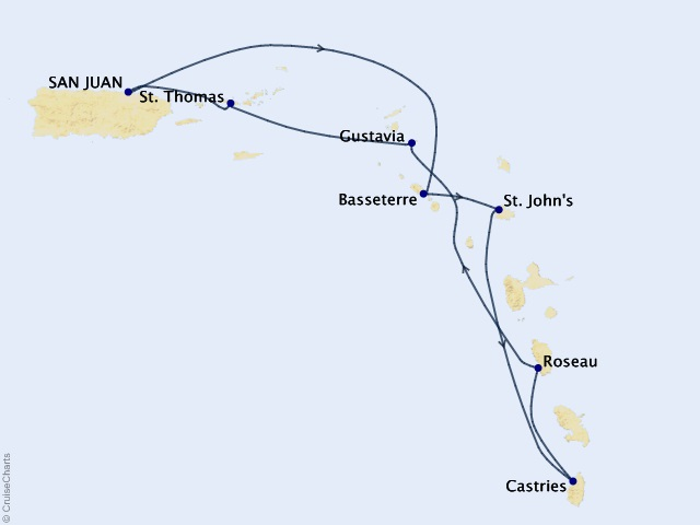 7-night Eastern Caribbean Cruise Map