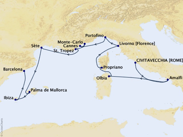 14-night Grand Journey – Italy, France, & Spain Cruise Map