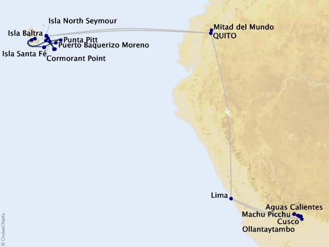 16-night Galápagos Southern Loop & Machu Picchu Cruisetour Map
