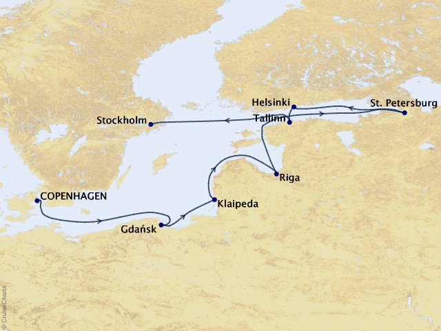 11-night Baltic Intensive Voyage Map