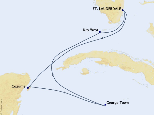 6-night Western Caribbean Cruise Map
