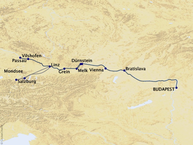 7-night Melodies of the Danube Cruise Map