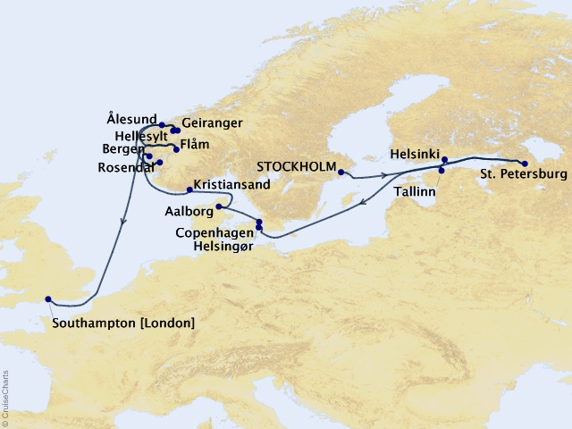 18-night Norway & Baltic Cruise  Map