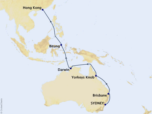 17-night 2021 World Voyage Segment - Sydney to Hong Kong Cruise Map