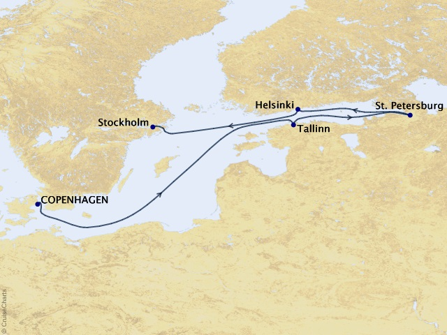 7-night The Baltic & St. Petersburg Cruise Map