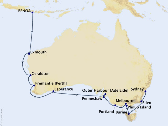 20-night An Australian Adventure Cruise Map