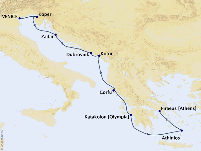 9-night Empires of the Mediterranean Cruise Map