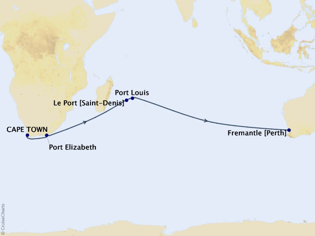 16-night Cape Town to Fremantle Cruise Map