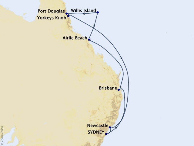 12-night Great Barrier Reef Cruise Itinerary Map