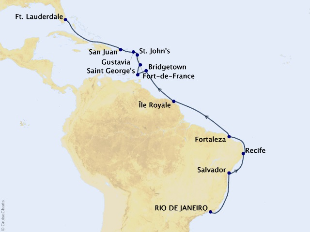 20-night South America Cruise Map
