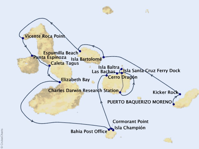 7-night Galápagos Islands Cruise Map
