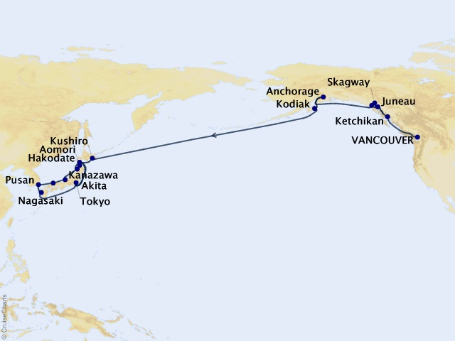 28-night Alaska & Japan Cruise Map