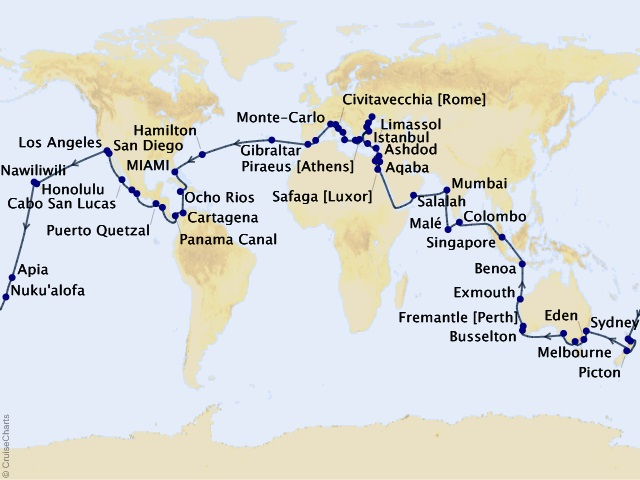 116-night 2022 World Cruise -Myths, Marvels & Monuments: A Cultural Mosaic Map