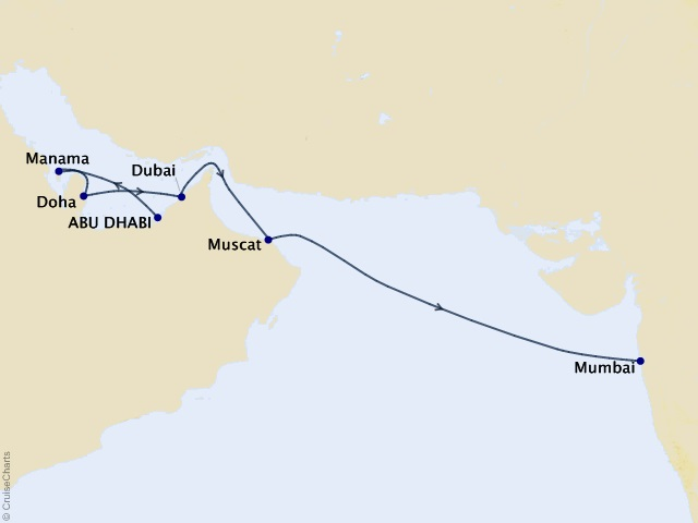 12-night Visions of Arabia & India Cruise Map