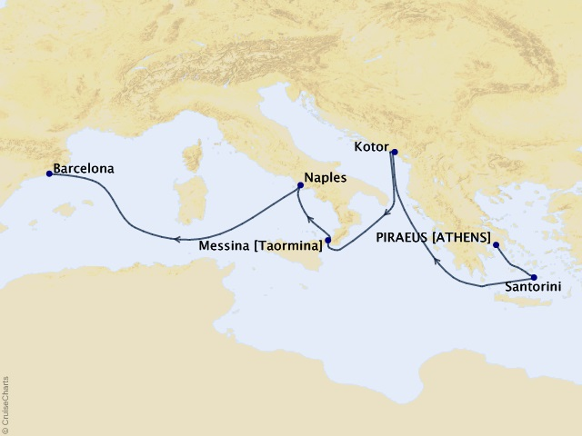 7-night Mediterranean and Adriatic Cruise Itinerary Map